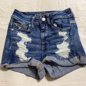 American Eagle Hi Rise Distressed Shortie Short